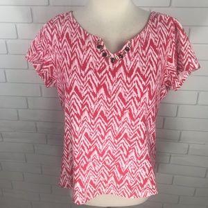 Ruby Rd. Favorites t shirt bling Chevron red L